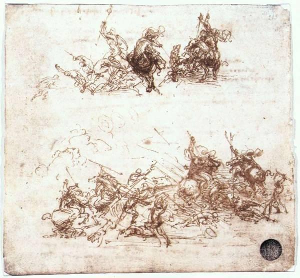 Leonardo da Vinci Study of battles on horseback and on foot2